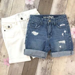 Set Girls Shorts Size 8 Jean & White Denim